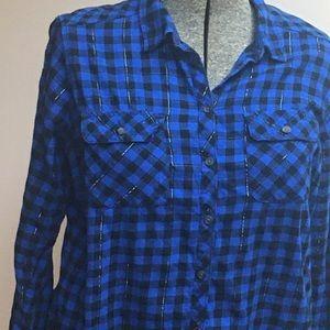 Croft & Barrow Blue Plaid Flannel Shirt